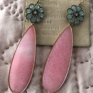 Anthropologie Pink Gem Drop Earrings